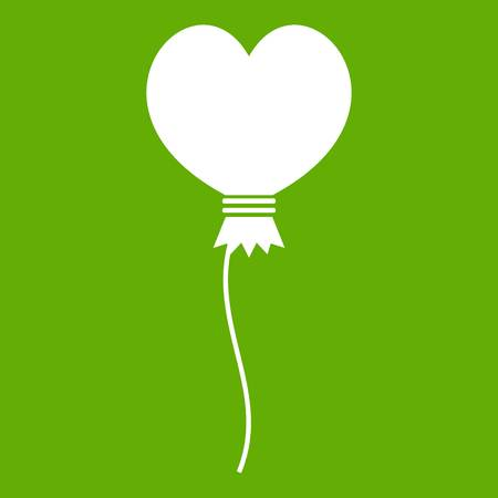 shiny hearts: Balloon in the shape of heart icon white isolated on green background. Vector illustration Illustration