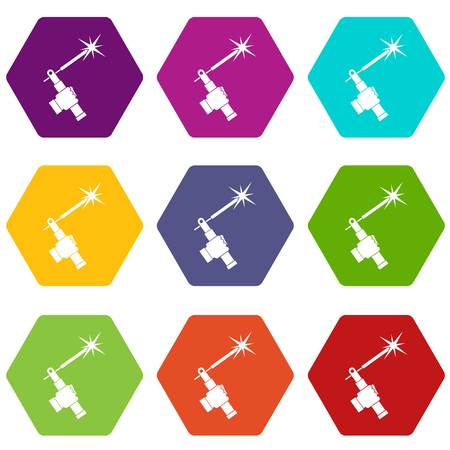 welding torch in hand icon set many color hexahedron isolated on white vector illustration