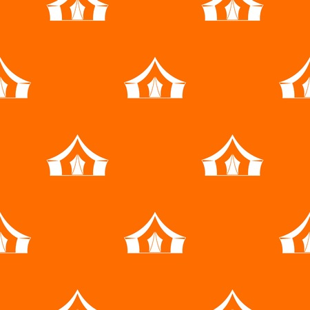 Tent, camping symbol pattern repeat seamless in orange color for any design. Vector geometric illustration