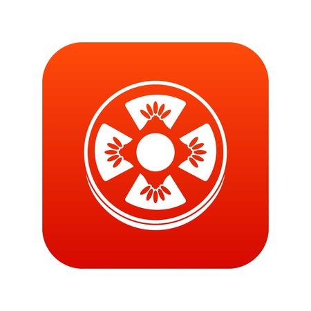 Slice of ripe tomato icon digital red