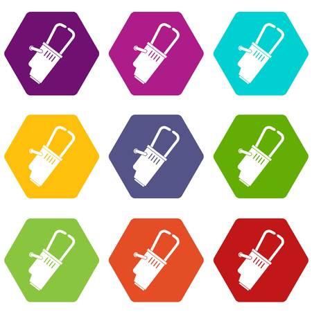 Welding equipment icon set color hexahedron Illustration
