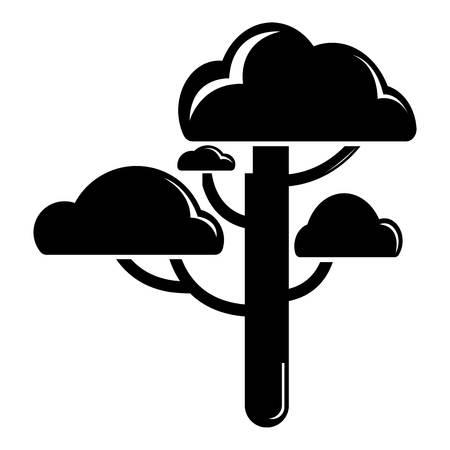 Cloud tree icon, simple black style Illustration