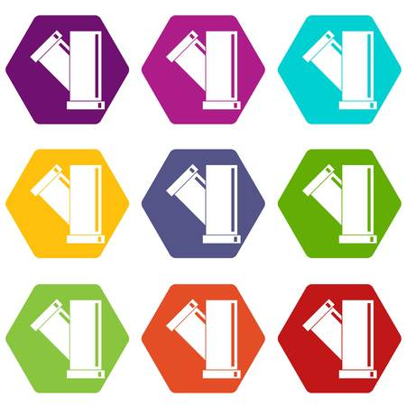 fitting: Tee fitting pipe icon set color hexahedron Illustration