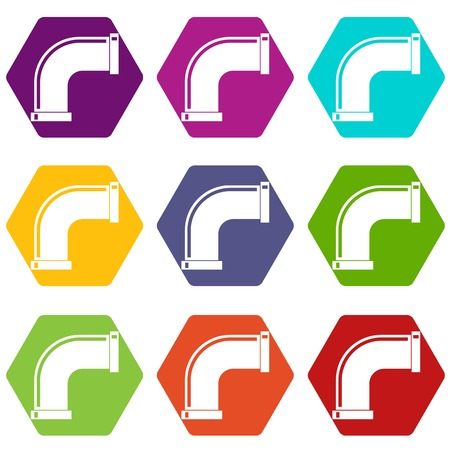 fitting: Water pipe icon set color hexahedron Illustration
