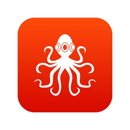 Octopus, icon digital red Illustration