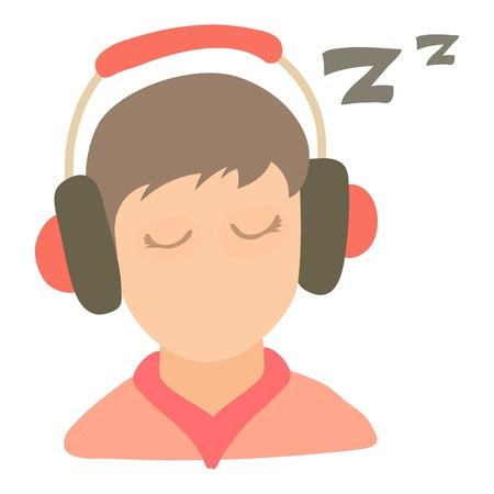 Little boy sleeping icon, cartoon style Illustration