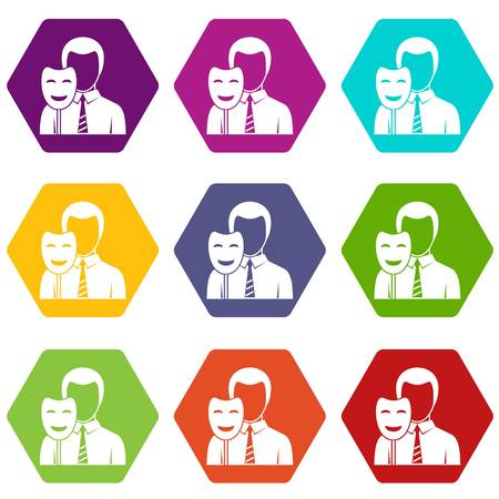 Businessman holding smile mask icon set color hexahedron
