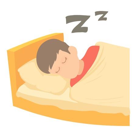 少年眠っているアイコン。Web のベクトル アイコンを寝ている少年の漫画イラスト