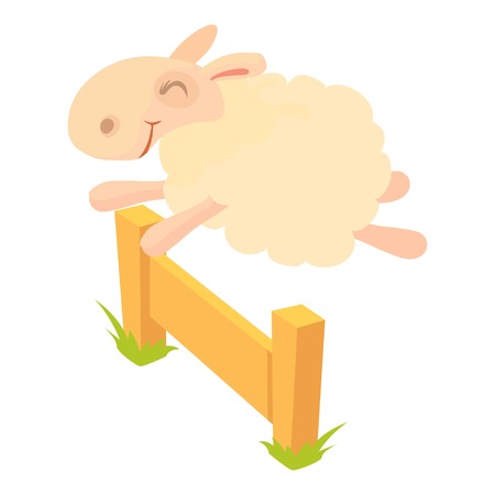Sheep jumping over barrier icon, cartoon style
