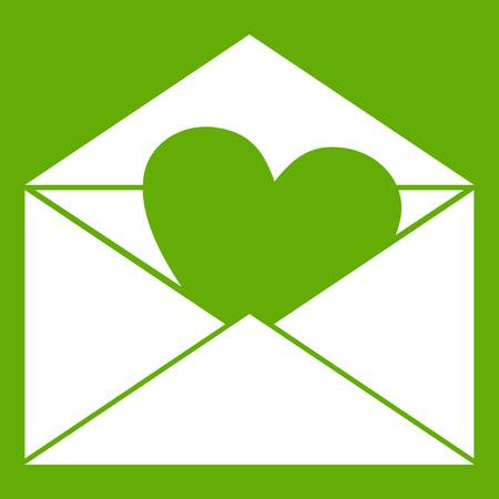 correspondence: Envelope with Valentine heart icon white isolated on green background. Vector illustration