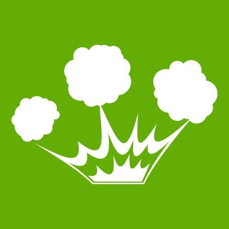 nuclear bomb: Explosion icon white isolated on green background. Vector illustration Illustration