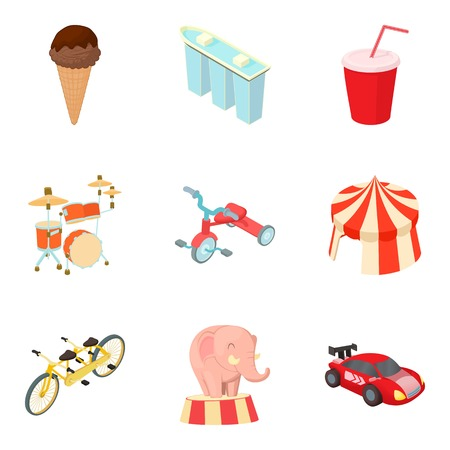 Leisure and recreation icons set, cartoon style