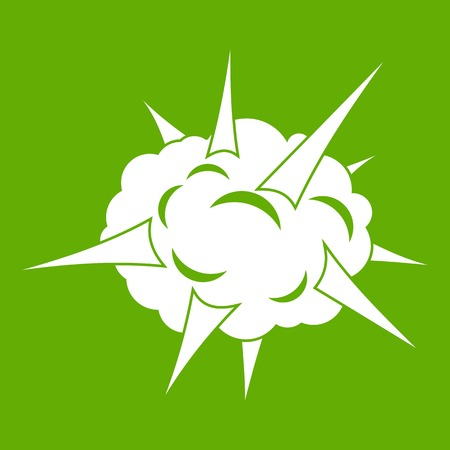 Power explosion icon white isolated on green background. Vector illustration