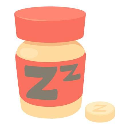 Sleeping pills icon, cartoon style Illustration