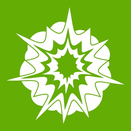 nuclear bomb: Fire explosion icon white isolated on green background. Vector illustration