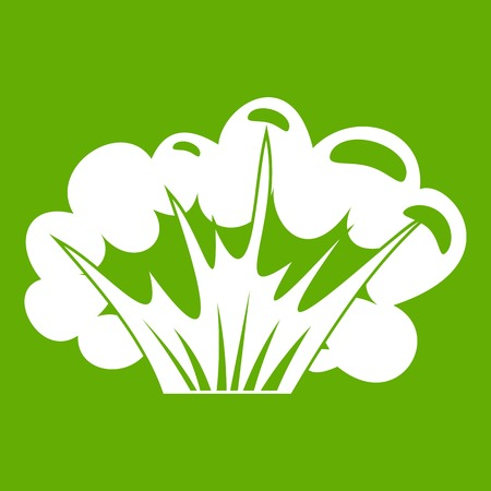 High powered explosion icon white isolated on green background. Vector illustration