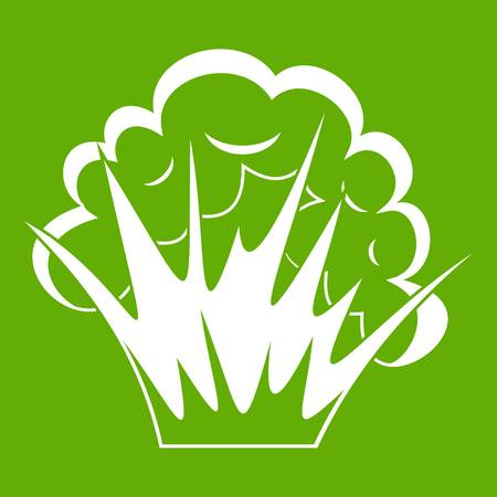 Flame and smoke icon white isolated on green background. Vector illustration Illustration