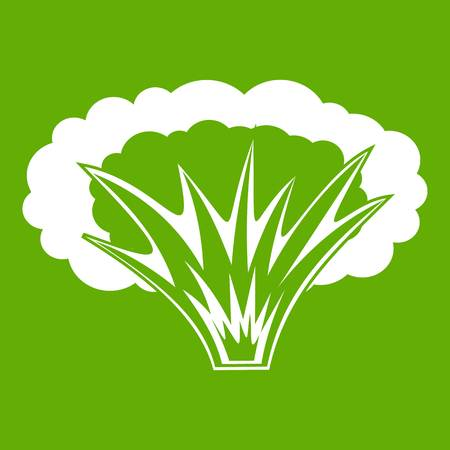 Atomical explosion icon white isolated on green background. Vector illustration