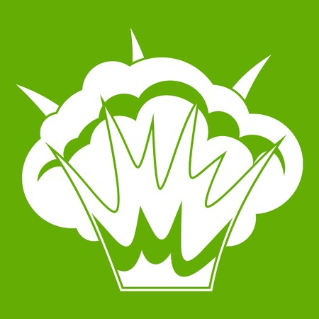 nuclear bomb: Projectile explosion icon white isolated on green background. Vector illustration