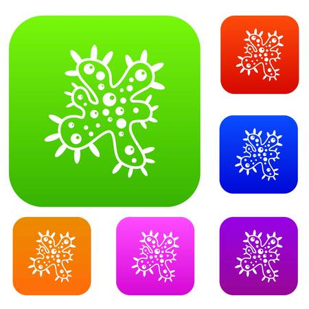 virus bacteria: Bacteria set icon in different colors isolated vector illustration. Premium collection