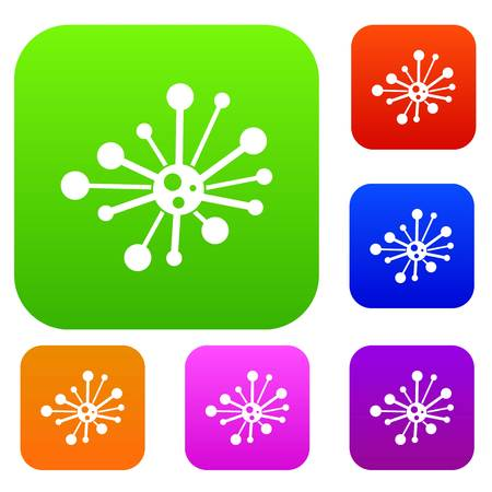 virus bacteria: Round bacteria set icon in different colors isolated vector illustration. Premium collection
