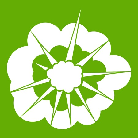 nuclear bomb: Cloudy explosion icon white isolated on green background. Vector illustration