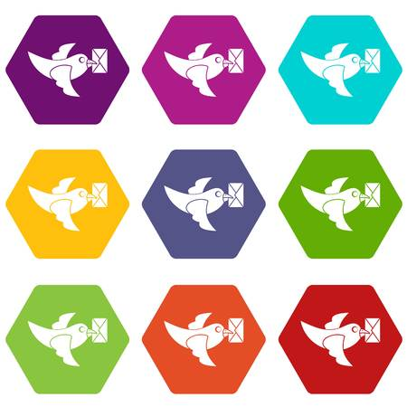 carrier pigeons: Pigeon fly with mail icon set many color hexahedron isolated on white vector illustration