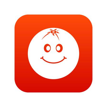 Smiling fruit icon digital red for any design isolated on white vector illustration