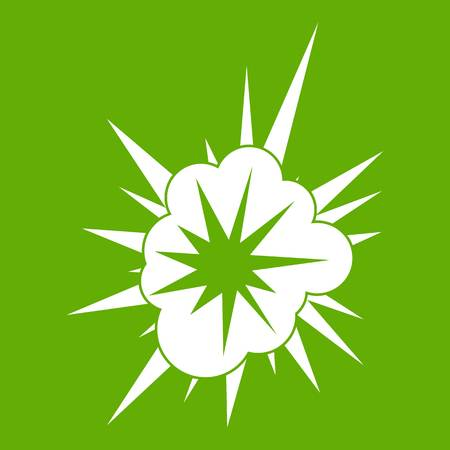 Nucleate explosion icon white isolated on green background. Vector illustration