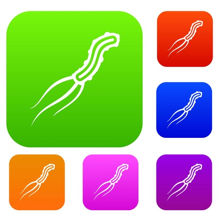 micro organism: Dangerous virus set icon in different colors isolated vector illustration. Premium collection