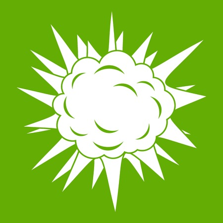 nuclear bomb: Terrible explosion icon white isolated on green background. Vector illustration Illustration