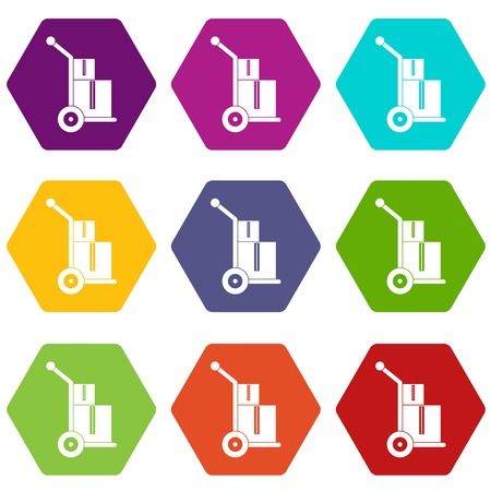 Truck with boxes icon set many color hexahedron isolated on white vector illustration Illustration