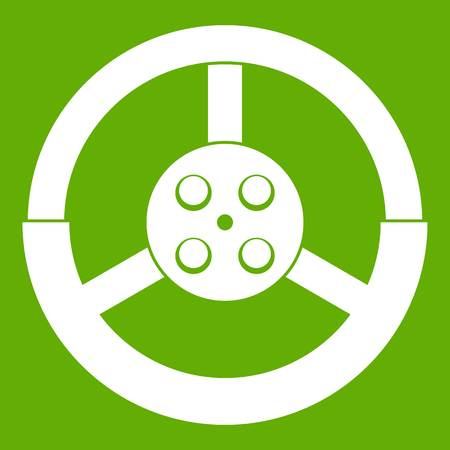 Steering wheel icon white isolated on green background. Vector illustration Illustration