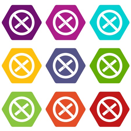 prohibiting: Sign prohibiting smoking icon set color hexahedron