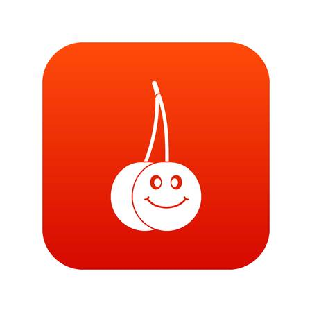 glace: Ripe smiling cherry icon digital red