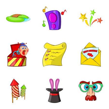 Entertaining show icons set. Cartoon set of 9 entertaining show vector icons for web isolated on white background