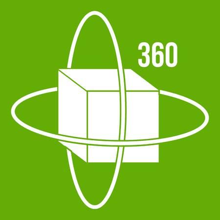 Virtual cube icon green