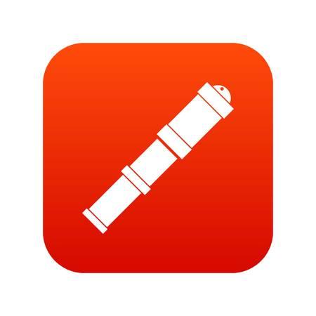 Antique telescope icon digital red