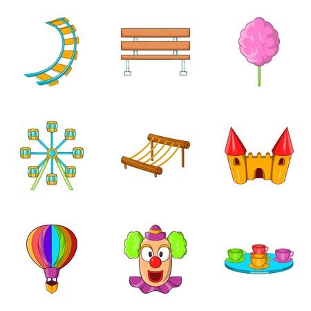 Hippodrome icons set, cartoon style