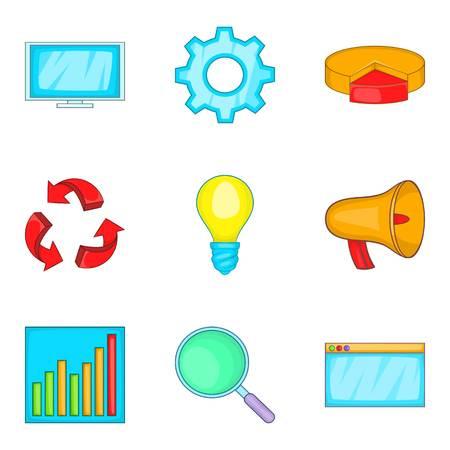 provision: Clear data icons set, cartoon style Illustration