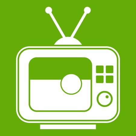 Soccer match on TV icon green Illustration