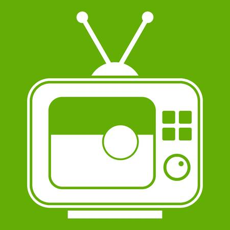 Soccer match on TV icon green Illustration