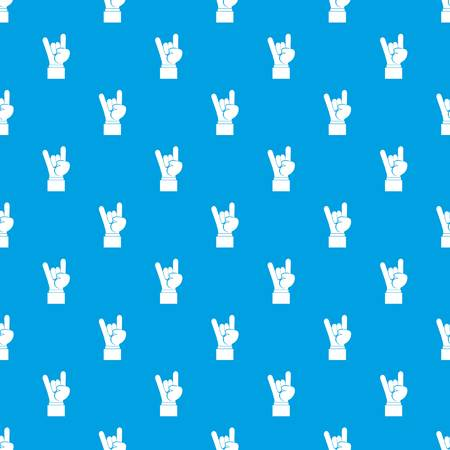 heavy metal: Rock and Roll hand sign pattern seamless blue