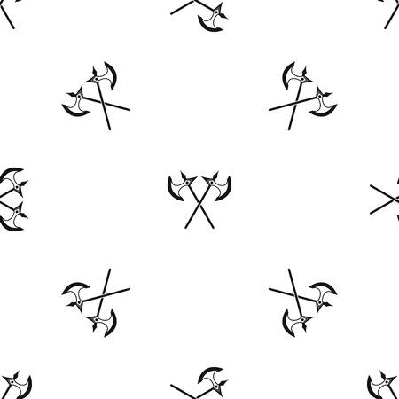 Crossed battle axes pattern seamless black
