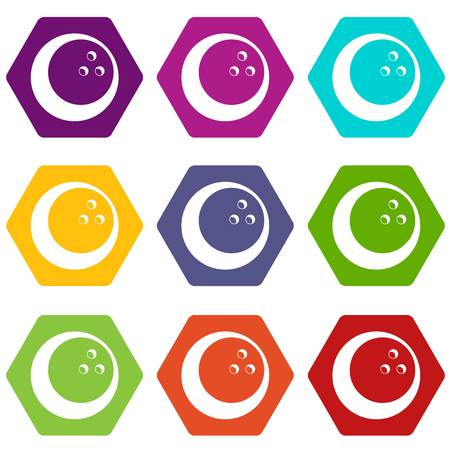 Marbled bowling ball icon set color hexahedron