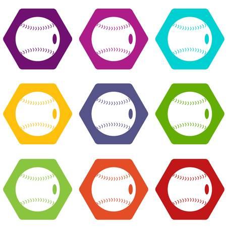 Baseball ball icon set color hexahedron Ilustração