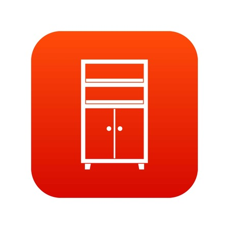 bedside: Wooden cabinet icon digital red