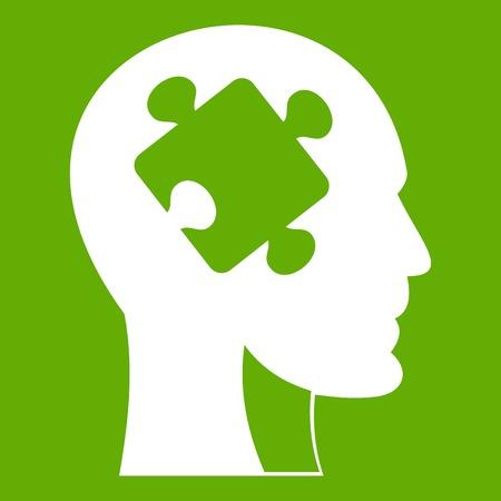 Hoofd met puzzel pictogram groen Stock Illustratie