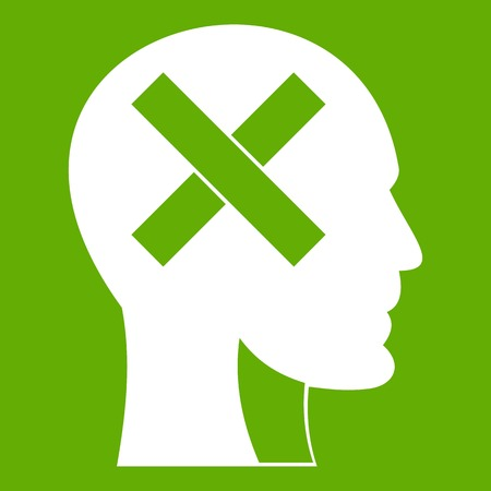 Human head with cross inside icon green