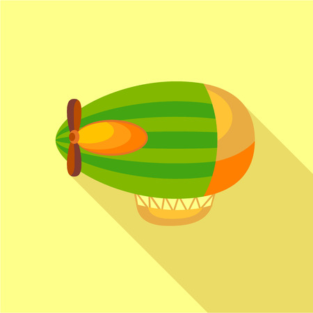 blimp: Green airship icon, flat style Illustration
